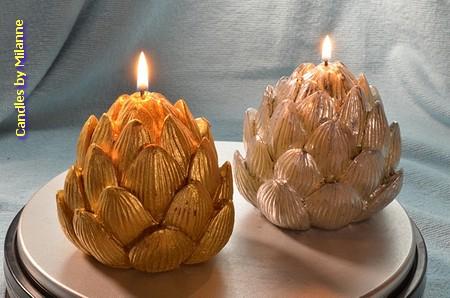 2 stuks handgemaakte DENNENAPPEL kaarsen in XXL formaat