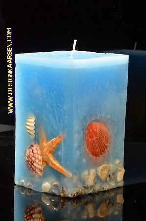Zee kaars Groot Vierkant Blauw