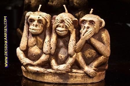 Affen Kerze mit 3 Dochten 9x15x11 cm