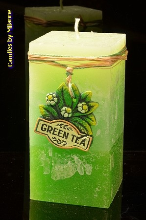 Groene Thee kaars, Rechthoek, H: 14 cm
