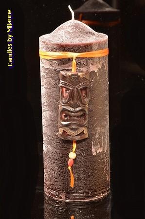 Masker Kaars Rond, H: 20 cm