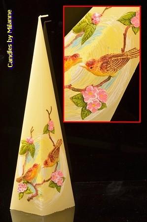 Vogeltjes kaars, Piramide 33 cm