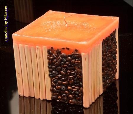 Koffie bamboe kaars ORANJE