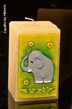 Elefant Kerze GRUN, H: 15 cm
