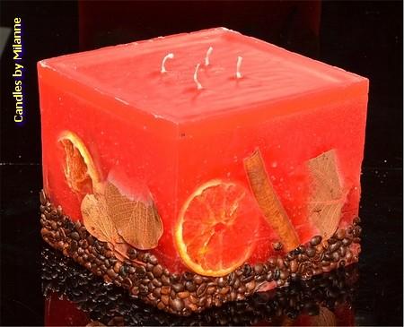 Fruchte Kerze ROT Gross mit 4 Dochten