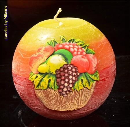 Citrus Fruit, Kogel kaars, 10 cm