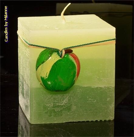 Appel kaars, Vierkant, H: 10 cm