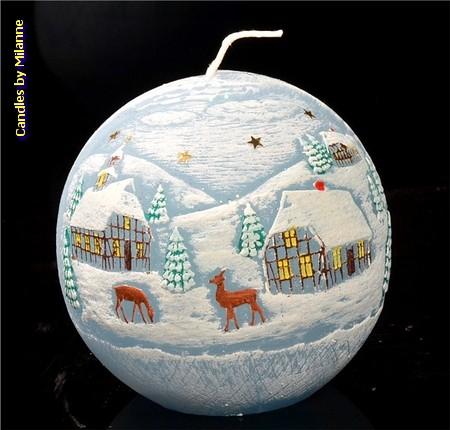 Weihnachtskerze, kugel , 10 cm