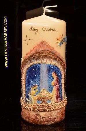 Kerstkaars Rond Groot, H: 22 cm