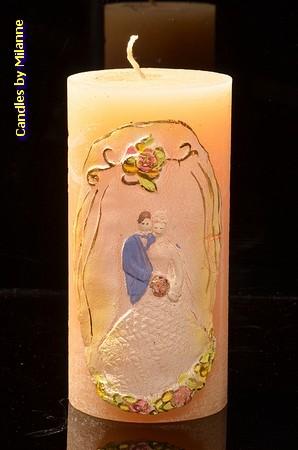 Hochzeit Kerze, GELB, 75x150 mm