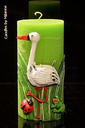 Geburts-Kerze Storch, GRÜN, H: 30 cm, H: 15 cm