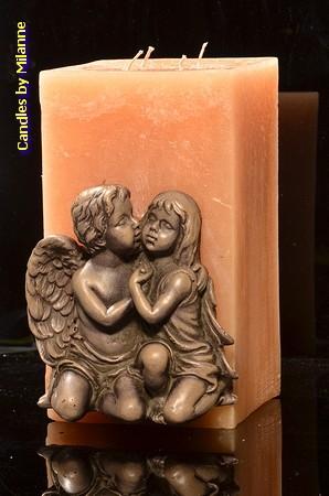 Engel Kerze, Gross, 4 Dochten,13x13x25 cm