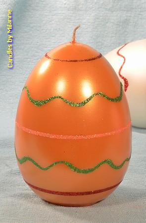 Paasei Kaars XXL, oranje, H15 cm, breedte: 10 cm