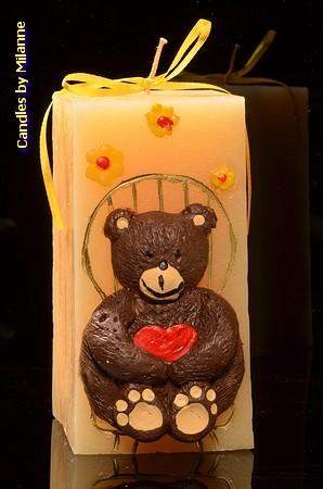 Bär, CREME, LxBxH: 7,5x7,5x15 cm