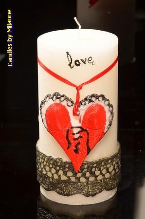 Love Kerze, Stumpe,, Ø7,5 cm, H: 15 cm