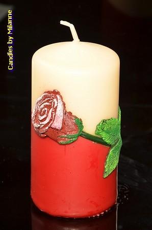 Rode Roos, Kaars, Rond, 6 cm, H: 13 cm