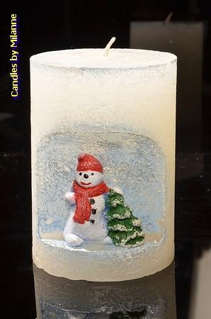 Schneemann Kerze BLAU, h: 10,5 cm