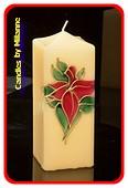 Glas in Lood kaars, Vierkant, H: 17,5 cm - Kerst
