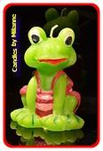 Frosch Kerze, H: 10,5 cm