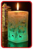 Weihnachtskerze, Quadra mit LED, H: 14 cm