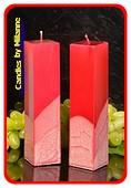 Kwadrant kaarsen, ROOD METALLIC, hoogte 22 cm, 2 STUKS