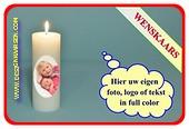 Wenskaars met eigen foto/ tekst / logo, Ø 7cm, H:20 cm (W4)