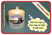 Wünsch Kerze mit eig. Foto , Text oder Logo Ø10cm, H:10 cm