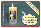 Wünsch Kerze mit eigen. Foto , Text oder Logo Ø7cm, H:20 cm