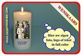 Wünsch Kerze mit eig. Foto , Text oder Logo Ø10cm, H:20 cm