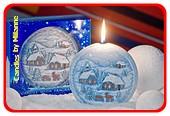 Weihnachtskerze BLAU disk 13 cm