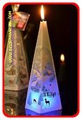 Kerstkaars BLAUW piramide met LED