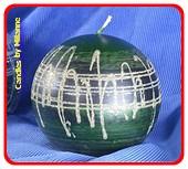 Grün  mit Silber, Kugel Kerze, 12 cm
