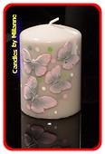 Schmetterling Kerze GRAU H: 10 cm