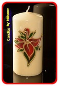 Roten Blumen, Stump Kerze H: 14 cm