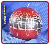 Rot  mit Silber, Kugel Kerze, 10 cm