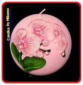 Orchidee kaars, kogel, 10 cm, ROZE