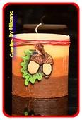 Herbst Kerze, Quadra, 8x7,5x5 cm