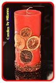 Fruchte Stumpe Kerze ROT, H: 20 cm,  Ø 9cm