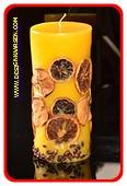 Fruit Kaars LARGE-ROND, GEEL, H: 20 cm,  Ø 9cm