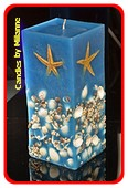 Meer & Wasser Quadra Kerze BLAU, H: 26 cm