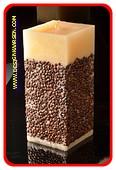 Kaffee Quadra Kerze, mega XXXL, H: 26 cm