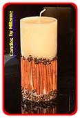 Zimmt-Kaffee Stumpe Kerze, H: 20 cm