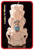 Geboorte Kaars, handgesneden, 23 cm 51614