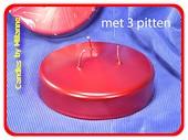 3 Dochten XXL Kerze, Ø,150 mm H: 50 mm, ROT METALLIC