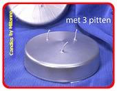 3 Dochten XXL Kerze, Ø,150 mm H: 50 mm, SILBER METALLIC