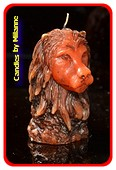 Leeuw kaars ROOD-BRUIN Vierkant, H: 10 cm