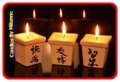Kaarsen in stenen potje (set van 3 stuks)