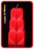 Herzen Kerze, ROT METALLIC, höhe: 18 cm