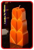 Herzen Kerze, KUPFER METALLIC, H: 18 cm
