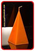 5 kantige Piramide Kaars, KOPER METALLIC, hoogte 11 cm